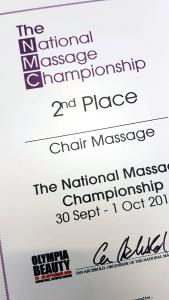 National Massage Championship award