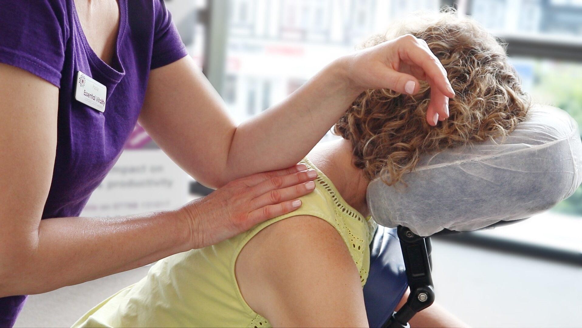 Seated Acupressure On-Site Massage – Essential Vitality Event 3a