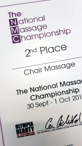 National Massage Championship award