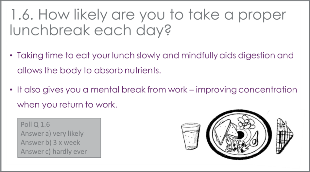 Well-being quiz question how often do you take a proper lunch